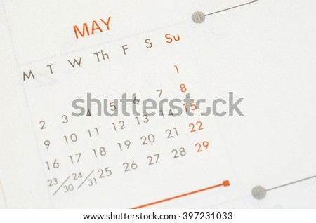 May 2016 calendar recycled paper background, weeks start from Monday #397231033
