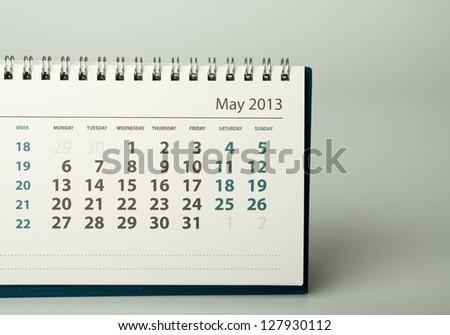 May. Calendar sheet. 2013 year calendar