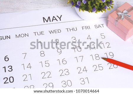 May calendar with gift box. Birthday concept. #1070014664