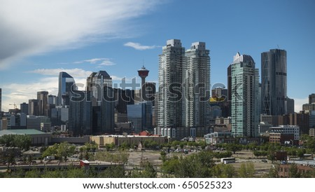 May 30, 2017 - Calgary, Alberta - Canada - City landscape on a sunny day #650525323
