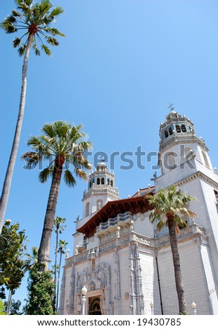 May 19, 2008 - California, USA: Hearst Castle and palm-trees - stock photo
