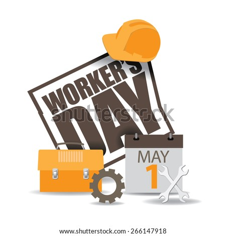 May first workers day icon EPS 10 vector royalty free stock illustration for greeting card, ad, promotion, poster, flier, blog, article, social media, marketing