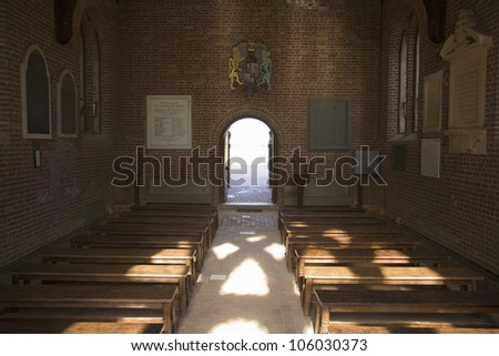 MAY 2007 - Interior view of Jamestown Memorial Church which was constructed in 1906 by the National Society, on the site of the first English Church in America, Jamestown, Virginia