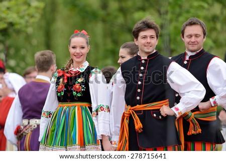 May 17, 2015 Lodz, Poland, Polish traditional folk dance.Folk Song and Dance Ensemble \
