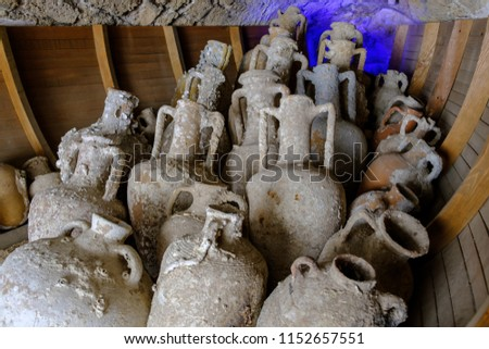 May 19, 2018. Marmaris, Turkey: Antique Greek and Roman amphorae raised from the seabed. #1152657551