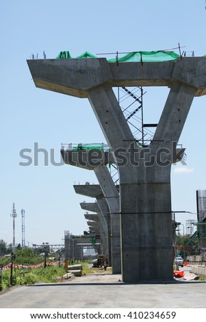 MAY 31, 2015 ; NONTHABURI - THAILAND : Detail of construction and equipment using in concrete bridge construction. #410234659