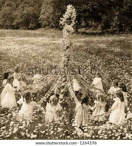 May-Pole Celebration with little girls in field of daisies vintage photo circa 1907