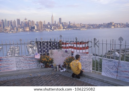 MAY 2004 - September 11, 2001 Memorial on rooftop looking over Weehawken, New Jersey, New York City, NY