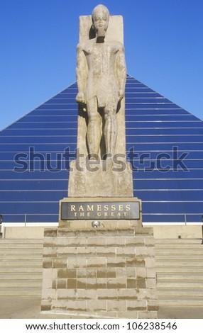 MAY 2004 - The Pyramid Sports Arena in Memphis, TN with statue of Ramses at entrance