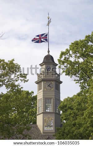MAY 2007 - Union Jack flying from the roof cupola with dormers of the Capitol Building of Colonial Williamsburg, Virginia. The building that stands today is the third Capitol on the site.