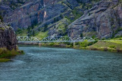 MAY 23 2019, USA - Retracing the Lewis and Clark Expedition - May 14, 1804 - September 23, 18062019, MONTANA, USA - Hardy Bridge crosses the Missouri River