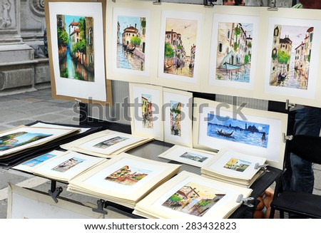 May 15, 2015 -Venice, Veneto, Italy : Artistic painting in Venice shown in the street