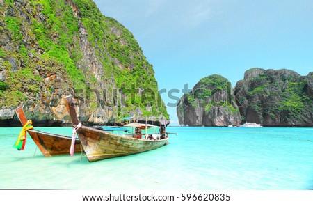 Maya bay Beach, Kra-bi province, south of Thailand - Shutterstock ID 596620835