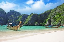 Maya Bay on Phi Phi Leh Island, Krabi Province Thailand