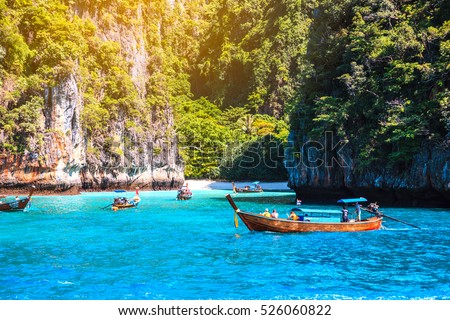 Maya bay Phi Phi Islands Andaman sea Krabi, South of Thailand. - Shutterstock ID 526060822