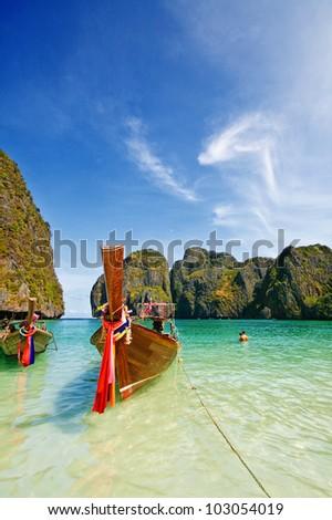 Maya Bay, Phiphi Island, Krabi Province, South of Thailand - Shutterstock ID 103054019