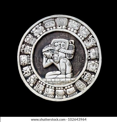 Maya calendar isolated - over black
