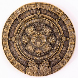 Maya Gold Plated Coin MEXICO Mayan Prophecy Ancient Calendar Souvenir Coin VINTAGE. Collection.