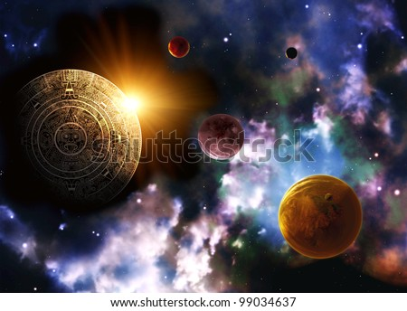 Maya prophecy. Horizontal background space scene