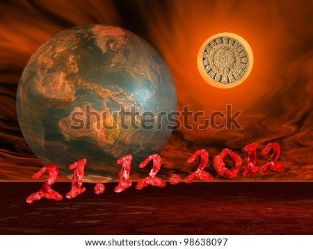 Maya prophecy on the sun next to the earth and the end of the world date in a firing red background