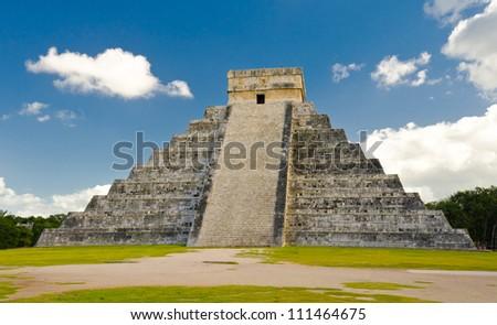 Maya pyramid. Historical ruins of ancient civilization of Maya. Tulum, Mexico.