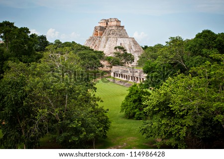 Maya Pyramid, Palenque, Mexico - stock photo