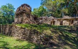 Maya ruin city of Yaxchilan, Chiapas, Mexico. Focus on foreground wall.