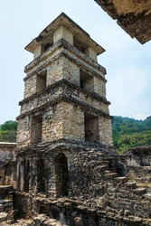 Maya temple ruin observation tower of palace patio, Palanque, Chiapas, Mexico
