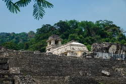 Maya temple ruins stairs with palace and observation tower, Palanque, Chiapas, Mexico