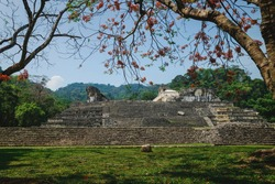 Maya temple ruins with palace and observation tower under orange tropical blossoms, Palanque, Chiapas, Mexico