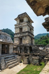 Maya temple ruins with palace patio and observation tower, Palanque, Chiapas, Mexico