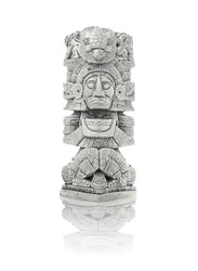 Mayan artifact from Mexico isolated against white background including clipping path