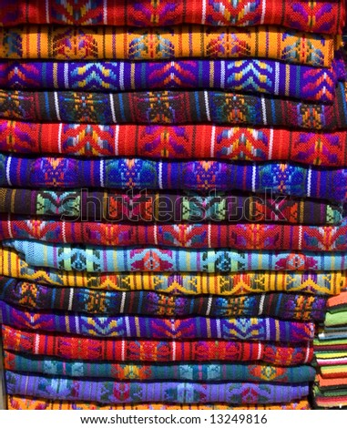 Mayan Blankets For Sale In Chiapas, Mexico Stock Photo 13249816