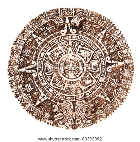 Mayan calendar isolated on the white background - stock photo
