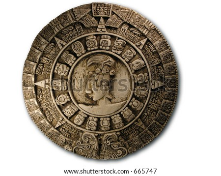 Mayan Calendar on white. - stock photo