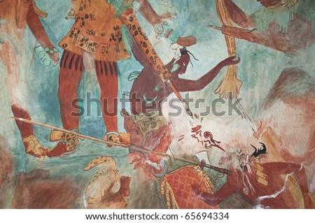 Mayan mural painting from bonampak 03 mural replica of the for Bonampak mural painting