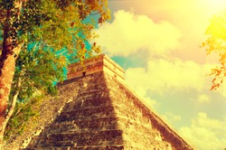 Mayan Pyramid Chichen Itza, Mexico. Ancient Mexican tourist attraction. Maya civilization. Vintage style