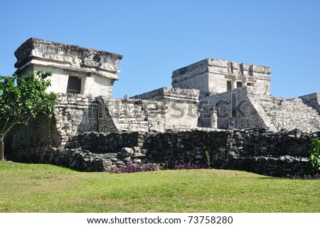 Mayan Ruins at Tulum in Mexico Against a Clear Blue Sky