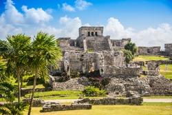 Mayan Ruins Besides Caribbean Sea. Riviera Maya, Traveling America.