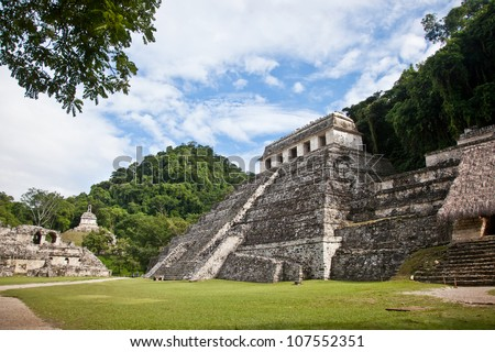 Mayan ruins in the site of Palenque, Mexico. Temple of the Inscriptions.