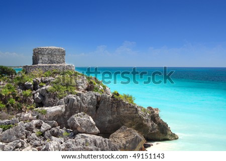 Mayan temple at Tulum near Cancun overlooking the Caribbean sea, Mayan Riviera, Mexico.