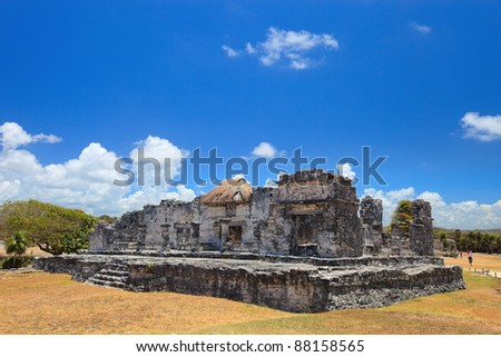 Mayan temple ruins in Mexican Tulum