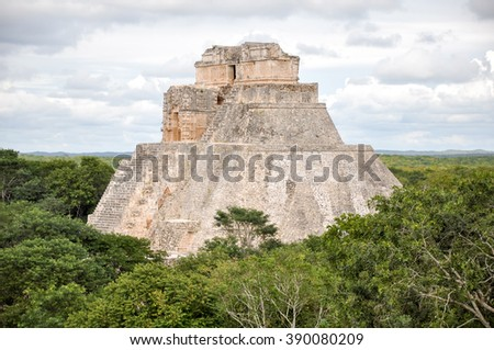 Mayan temple Uxmal archeological site, ruins in yucatan, mexico