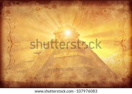 Mayan Vintage Background with Darker Ornaments. Gold-Browny Vintage Mayan Civilization with Mayan Pyramid Background.