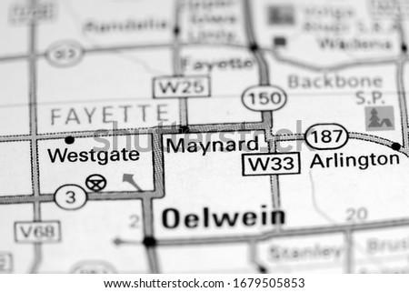 Maynard. Iowa. USA on a map Zdjęcia stock ©