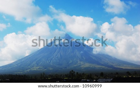 mayon volcano in albay,philippines, the only one with a perfect cone