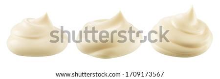 Mayonnaise isolated. Mayo swirl on white background. Mayonnaise cream set. Mayonnaise swirl with clipping path.