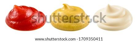 Mayonnaise, mustard, ketchup isolated. Mayo swirl, mustard condiment, tomato sauce  on white background. Sauce set. Clipping path.  Сток-фото ©