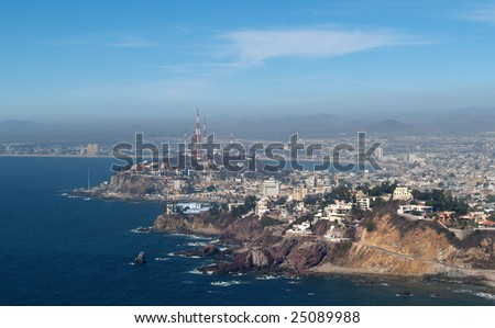 Mazatlan, Sonora, Mexico as viewed from the el Faro Lighthouse -  looking east Panorama pic 2 of 8