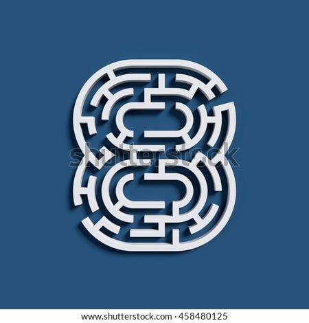 Maze font 3d rendering number 8